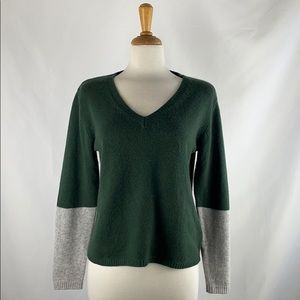 Rossopuro Green & Gray Sleeve Cashmere Sweater